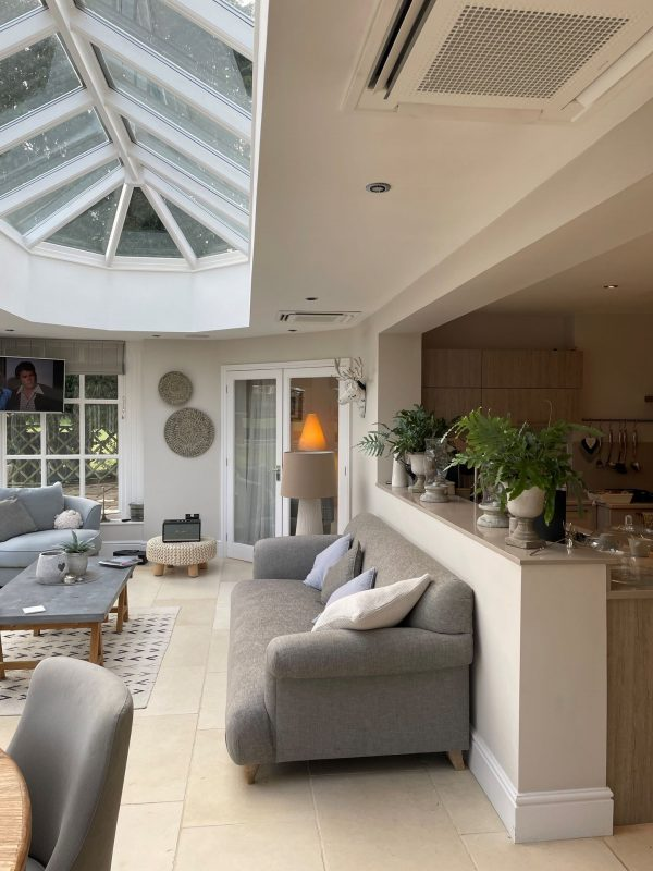 conservatory space with ceiling aircon unit