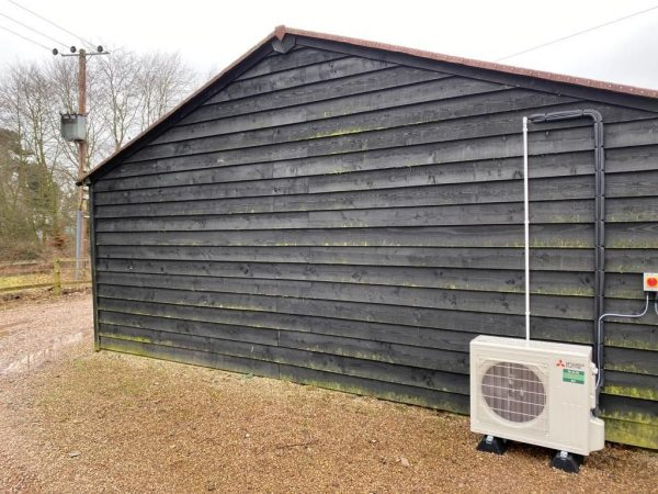 condenser air-con unit on shed